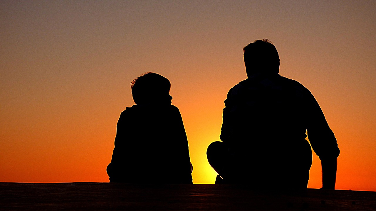 silhouette, father and son, sundown
